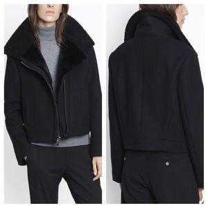 NWT Vince Black Genuine Shearing Motto Jacket